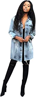 Fashion Denim Coat Women Plus Size Button Long Sleeve Pockets Jacket Overcoat Tops