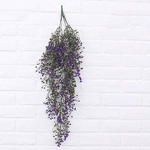 Kunstmatige planten 1 stuk × 75 cm Kunstbloemen Vine Silk doek vervalste Ivy Vine Plant Hanging Vine Garland voor huis bruiloft tuin decoratie (kleur: paars) lila