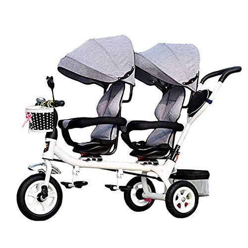 TJP 4 en 1 Triciclo Niños, Ligero Asiento Doble de 3 Ruedas del Triciclo Bici con la Cesta, el bebé Infantil Asientos Gemelos Carro para 1-7 años del niño,C