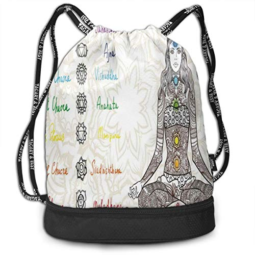 DPASIi Drawstring Backpacks Daypack Bags,Sketch Image of Yoga Posed Girl In Peace with Spots Ancient Relax Ritual Decor,Adjustable String Closure