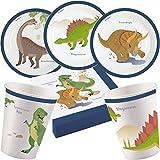 37-teiliges Party-Set * FRÖHLICHE Dinos * für Kindergeburtstag mit Teller + Becher + Servietten + Deko | Saurier Dinosaurier Dino T-Rex Triceratops Kinder Geburtstag Mottoparty Motto