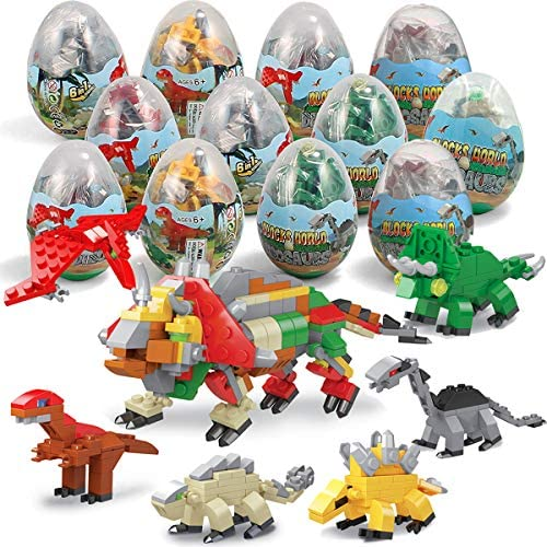 12Pcs Pre Filled Easter Eggs with Dinosaurs Building Blocks Egg Surprise Toys for Easter Basket product image
