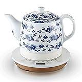DYB Hervidor eléctrico de cerámica Control Inteligente Jarra de Porcelana Azul y Blanca hierve Agua rápidamente para té, café, Sopa, harina de Avena 1L