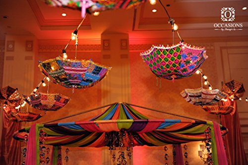 Indische dekorative handgemachte Designer Baumwollspiegel Arbeit Stickerei Sonnenschirm UV Schutz Regenschirm Sonnenschirm Stickerei Boho Sonnenschirm