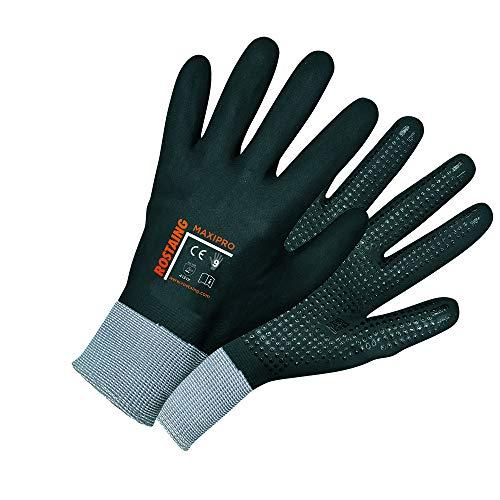 Rostaing maxipro-/IT11guantes todos labor protección integral de la mano, puntos en Palma, resistente al agua, transpirable, Negro, 11