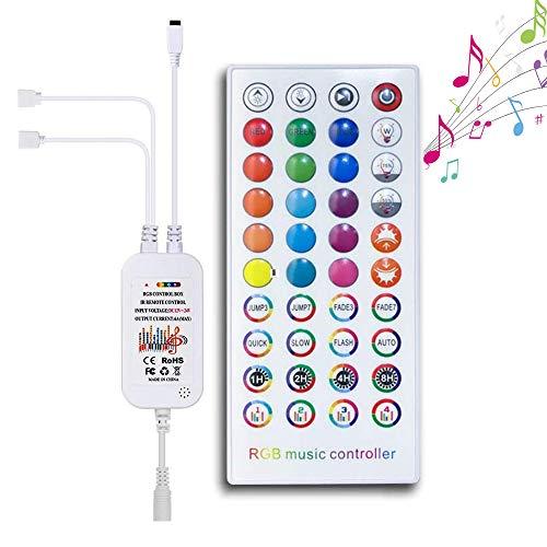 LED Streifen RGB Controller MinSoHi LED Musik Kontroller für LED Strip mit 4 Pins 2 in 1 Dual Ausgänge 40Keys IR Remote Fernbedienung Kontroller für DC12V 3528/5050 SMD LED Streifen