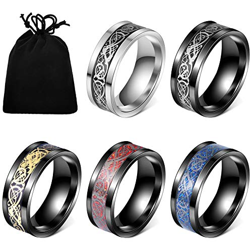 5 Pieces Stainless Steel Changing Color Mood Ring Unisex Temperature Emotion Ring, 5 Patterns