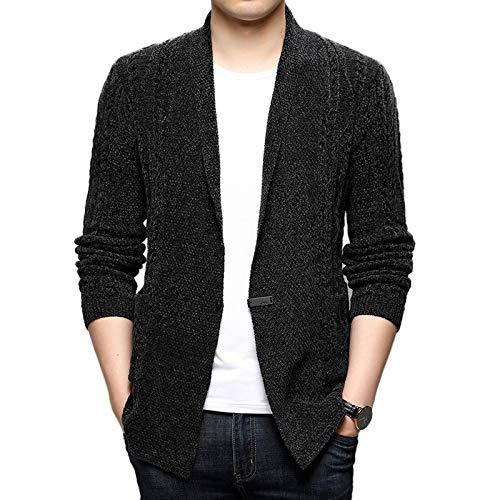 Cardigans Single Button V Neck Men Black Gray Winter Sweater Man Shawl Coat Casual Korean Clothes Fashion 2020 Jersey Hombre New-Dark Gray-XXL