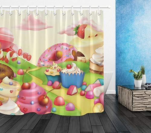Candyland Kuchen Eiscreme HD-Druck, wasserdichter Duschvorhang für das Badezimmer, 12 Haken kostenlos, 180x180cm