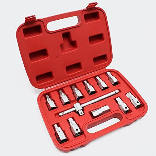 Ölwannen Steckschlüsselsatz 12 tlg Ölwannenschlüssel Öldienst Werkzeug für PKW und KFZ