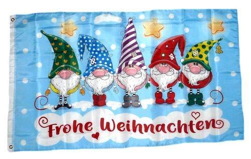 Fahne/Flagge Frohe Weihnachten Wichtel 90 x 150 cm