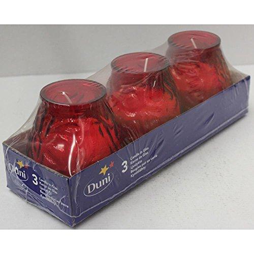 Duni Kerzengläser Aronda Venezia Rot 100x100 mm 3er Pack, Windlicht Rot, Kerzenglas Rot, Tischdeko Windlicht Rot, Kerzenglas Indoor Rot, Kerzenglas Outdoor Rot