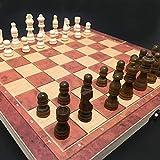 LINWEI Ensemble d'échecs, Jeu d'échecs Ensemble, 3 en 1 Chess en Bois Backgammon Jeux de Voyage Jeux de Voyage Set d'échecs Industrie Divertissement Christmas Christmas/Party Cadeau 34x34cm
