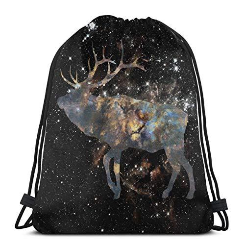 Yuanmeiju Sport Casual Daypack,Men Women Bolsa de Gimnasio,Kids Benched Bag,School Mochila con cordón,Eagle and Starry Sky 3D Print String Bag Sackpack Cinch Tote Bags
