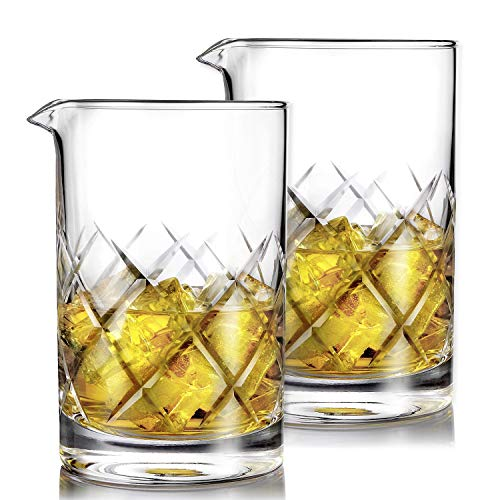 Hiware Professional 24 Oz Cocktail Mixing Glass, Thick Bottom Seamless Crystal Mixing Glass, 2 Pack