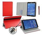 Emartbuy®Point of View Mobii Onyx Tab I847 8 Zoll Tablet Universal (7-8 Zoll) Rot PremiumPULederMulti-AngleeFolioGeldbörseTascheHülle Grey InnenraummitKartensteckplätze+Rot Eingabestift