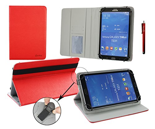 Emartbuy Acer Iconia One 8 B1-810 8 Inch Tablet Universal (7-8 Inch) Red Premium PU Leather Multi Angle Executive Folio Wallet Case Cover Grey Interior With Card Slots + Red Stylus