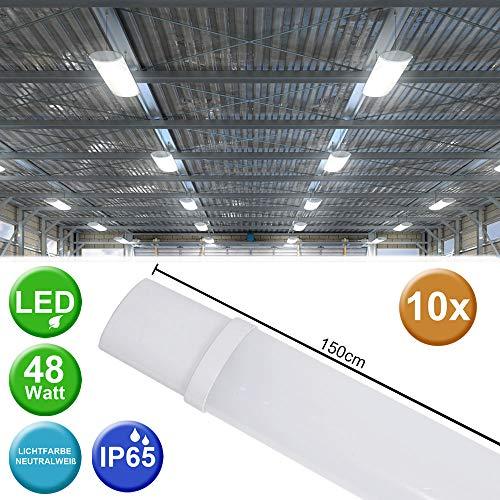 10x 48 Watt LED Wannen Leuchten Lager Hallen Industrie Decken Lampen Feucht Nass Raum Beleuchtung