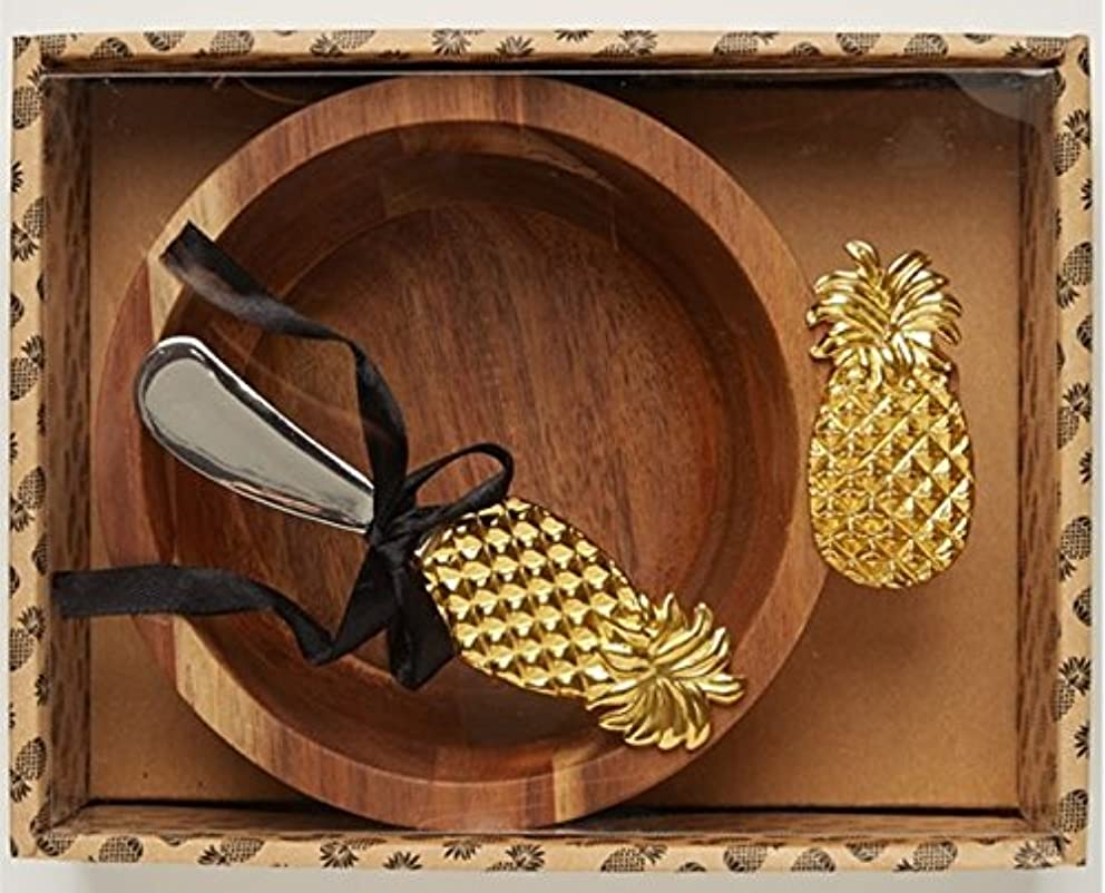 Two's Company Pineapple Bowl w/ Spreader in Gift Box