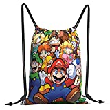 The Legend of Zelda Superhero Super Mario Smash Bros Bolsas con cordón para deportes, viajes, gimnasio, compras, unisex, portátil, gran capacidad de poliéster