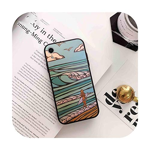Cuty-girl Surfing Art Surf Girl - Carcasa para iPhone 8, 7, 6, 6S, Plus, X, XS, Max, 5, 5S, SE, XR 11, 11Pro, promax-a3, iPhone 7, 8 Plus