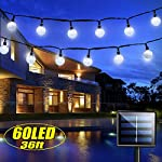 iihome 60 LED String 36ft Outdoor Waterproof Solar-Powered Crystal Ball Decorative Lights for Garden,Patio,Yard,Home…