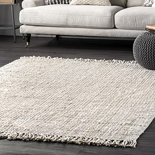 nuLOOM Hand Woven Chunky Natural Jute Farmhouse Area Rug, 3' x 5', Off-white