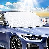 Favoto Copertura Parabrezza Auto, Telo Protezione per Parabrezza di Auto Resistente a Gelo/Acqua/Pioggia/Neve/UV, Parasole Magnetico per la Maggior Parte di Berline e Compact SUV, 147 x 116cm