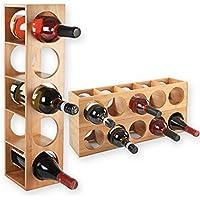 Gräfenstayn® 30543 Botelleros CUBE - apilable de madera de bambú para 5 botellas de vino para la colocación, la colocación o el montaje en la pared, expandible, tamaño 13,5x12x53 cm (LxAnxAl) portabidones de vino