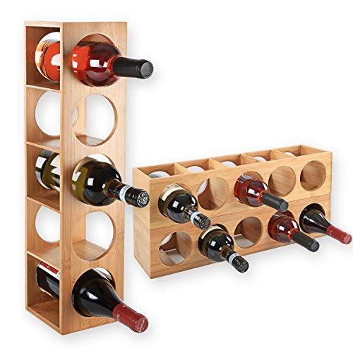 Gräfenstayn® Weinregal CUBE - stapelbar aus Bambus-Holz für 5 Wein-Flaschen zum Stellen, Legen, Wand-Montage, erweiterbar, Größe 13,5x12x53 cm (LxBxH) Weinflaschenhalter Weinkiste Flaschenregal