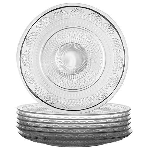 Juego de 6 platos llanos de cristal transparente, 28 cm de diámetro