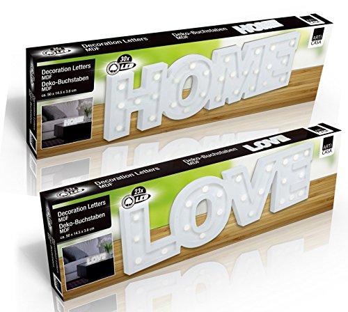 DRULINE LED Dekobuchstaben HOME LOVE 3D Deko Schriftzug Buchstaben Holz Weiß Batteriebetrieben (LOVE)