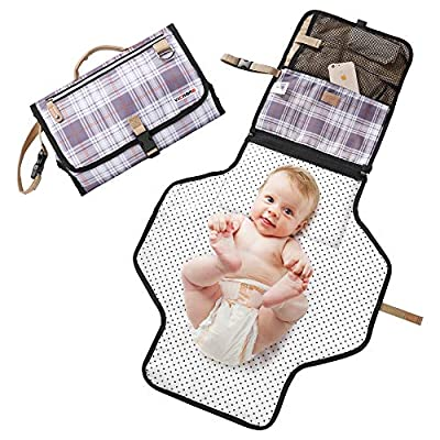 """Waterproof Baby Diaper Changing Pat, Extra Large 97cmx54cm (38""""x24"""" inch) Portable Nappy Changing Pat with Storage Pockets, Foldable Cushioned Travel Change Pat for Infants Home Travel Outdoor from vicroad"""