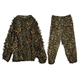 Ropa De Caza, Durable Al Aire Libre Woodland Sniper Ghillie Suit Kit, Cloak 3D Leaf Camouflage, Camo Jungle Hunting, CS Game Hunting Set Durable