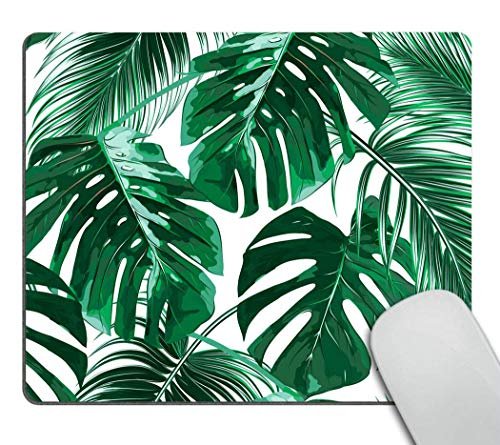 CUKENG Tropical Leaf Mousepad - Mat - Beautiful Design - Leaves Green with White Background Rectangle Mouse pad