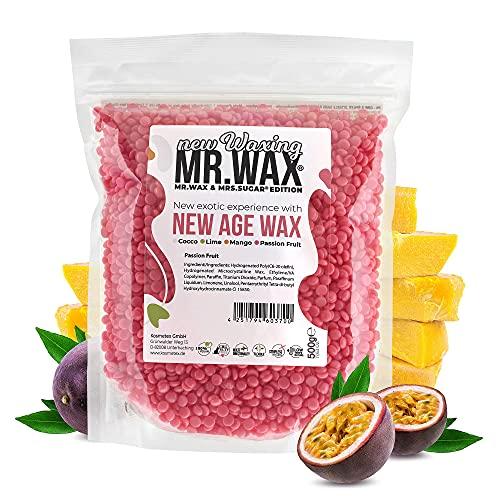 Mr. Wax New Age Waxing   Passionsfrucht Wachsperlen für Haarentfernung, Wachs Warmwachs Perlen, schmerzfreie Enthaarung im Gesicht für Augenbrauen, Oberlippe, Intimbereich, Achseln