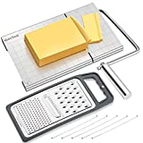YasTant Professional Cheese Slicer for Block Cheese, Luxury Size Cheese Cutter Stainless Steel Cheese Slicer Board with Wire Cutter Heavy Duty, Perfect for Soft Semi Hard Cheese Grey