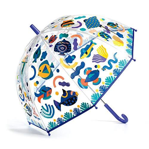 フランスの知育玩具ブランド、DJECO(ジェコ)のころんとした丸みがキュートなドーム型の傘。なんと雨に濡れるとお魚たちの色が変わるという仕掛け付きです。雨の日が待ち遠しくなりますよね。  こちらも全体が透明な傘なので、子供もママも内外の様子がよく分かって安心感も◎。色が変わったお魚たちについて、子供に尋ねれば、きっと大喜びで自分の発見を教えてくれますよ!