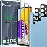 Ferilinso [5 Pack] 3 Piezas Protector de Pantalla para Samsung Galaxy A72 4G&5G Cristal Templado + 2 Piezas Protector cámara Protector de Lente de Cámara [9H Dureza] [Compatible con la Funda]