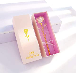 ALLOMN 24K Golden Rose, Plastic Long Stem Real Rose Dipped in Gold with Gift Box, Best Gift for Valentine's Day Mother's Day Christmas Birthday with Gift Box(Colorful)