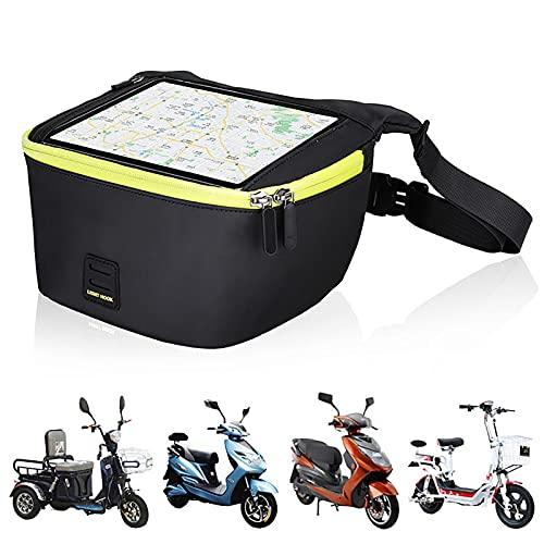 herommy Bolsa de Manillar de Motocicleta Scooter, Bolsa de Almacenamiento Impermeable Bolsa de Almacenamiento de Bicicletas para Bicicletas eléctricas, ciclomotor, Scooter, Motocicleta