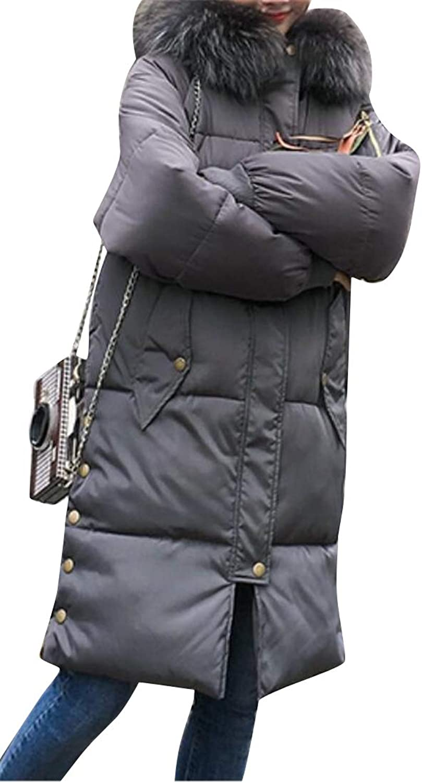 BOBOYU Women's Winter Bread Mid Length Baggy Hoodie Cotton Fur Collar Warm Down Parka
