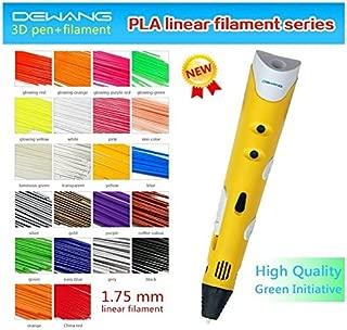 VERANY Dewang Stereoscopic 3D Printing Pen Toy Art Modeling Maker Printer Power Adapter + 10 Packs Multicolor 1.75mm PLA Filament-40 strands per pack (Yellow)