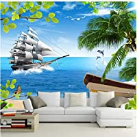 Lcymt 海景ヨット自然の風景壁画リビングルームベッドルームリビングルームの背景壁装飾壁画-400X280Cm