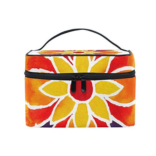 Coosun Fleur d'Oranger Mandala Trousse cosmétique sur toile de voyage Trousse de toilette Poignée supérieure simple couche Maquillage Organiseur de sac multifonction Sac de maquillage pour femme