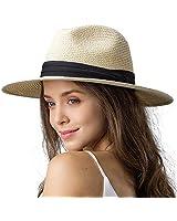 "Womens Wide Brim Straw Panama Hat Fedora Summer Beach Sun Hat UPF Straw Hat for Women (Style Cream, M (Head Circum 22.1""- 22.8""))"