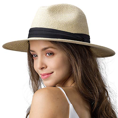 Womens Wide Brim Straw Panama Hat Fedora Summer Beach Sun Hat UPF Straw Hat for Women (Style Cream, M (Head Circum 22.1