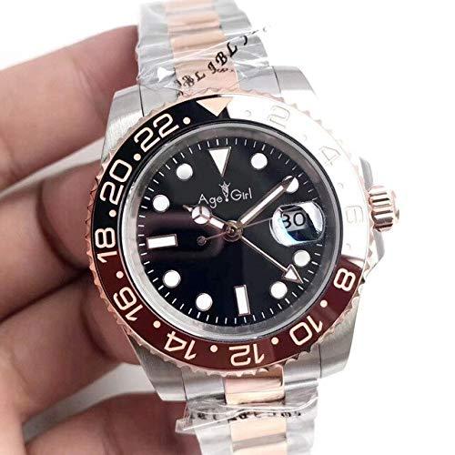 LESHARED Mannen Automatische Mechanische Horloges Geel Goud Zwart Blauw Keramische Bezel GMT II RVS Sapphire Jubilee