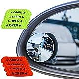 Senven® Blind Spot Specchi(4 Pezzi)+Adesivo Riflettente(8 Pezzi), Specchietto Retrovisore Convesso Rotante a 360 °- Impermeabile Specchietto Laterale Grandangolare Vetro Ad Alta Definizione-12 Pezzi
