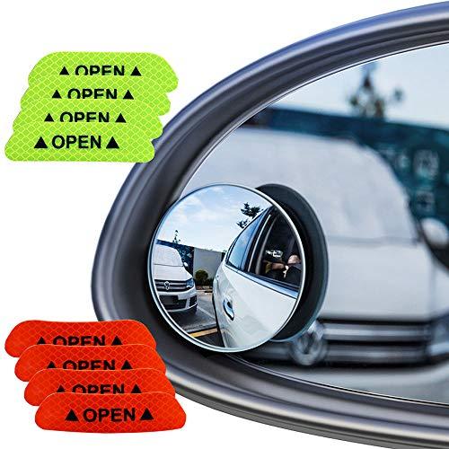 Senven Blind Spot Specchi(4 Pezzi)+Adesivo Riflettente(8 Pezzi), Specchietto Retrovisore Convesso Rotante a 360 °- Impermeabile Specchietto Laterale Grandangolare Vetro Ad Alta Definizione-12 Pezzi